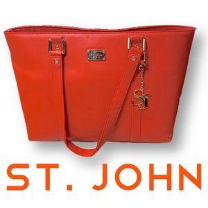 St John large purse tote orange vinyl